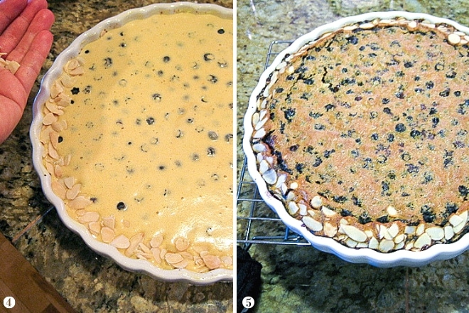 uncooked and cooked clafoutis side by side