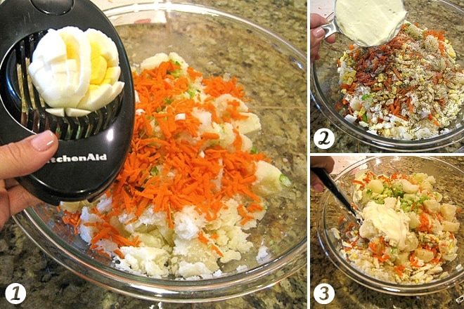 mixing ingredients in a glass bowl for potato salad