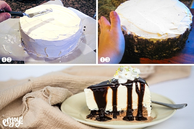 using whipped cream to frost a gluten free ice cream cake