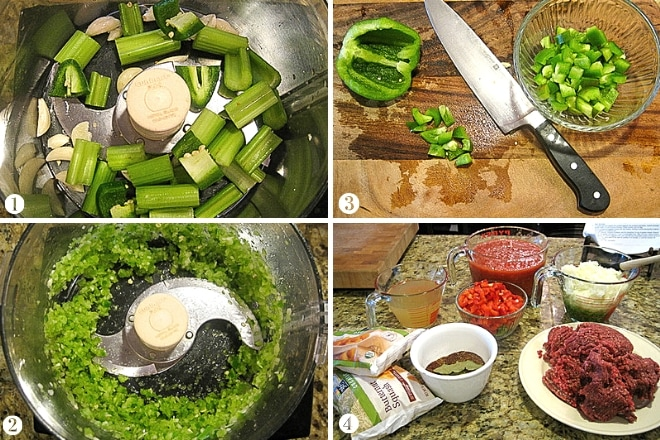 step by step photos showing ingredient prep for butternut squash chili recipe