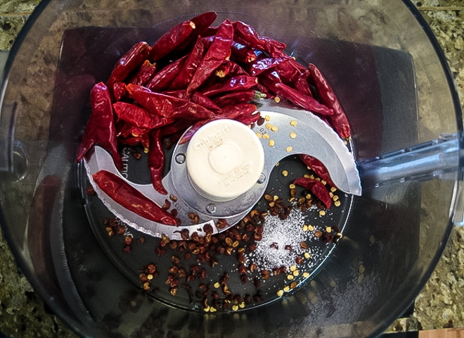 adding whole chili's to the food processor for homemade chili oil