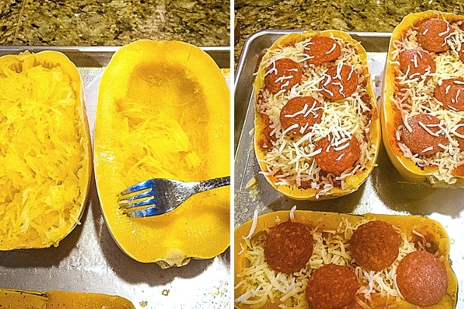 step by step photos of how to make spaghetti squash pizza