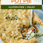 cooked gluten free pot pie with a serving spoon