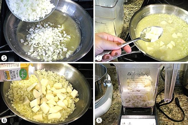 step-by-step preparation of gluten free chicken pot pie filling