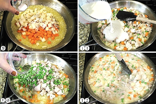 step-by-step photos of making paleo chicken pot pie filling