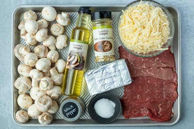 ingredients to make cheesesteak stuffed mushrooms appetizer