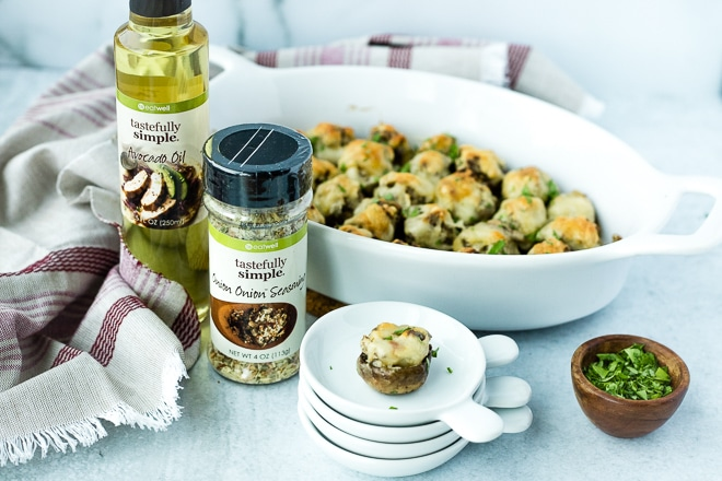 baked stuffed mushrooms in a white dish