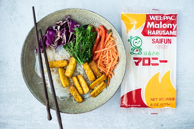 glass noodle bowl with package of malony saifun and chopsticks