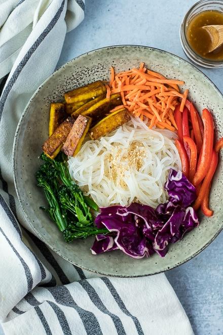 vegan glass noodles recipe with rainbow veggies and tofu