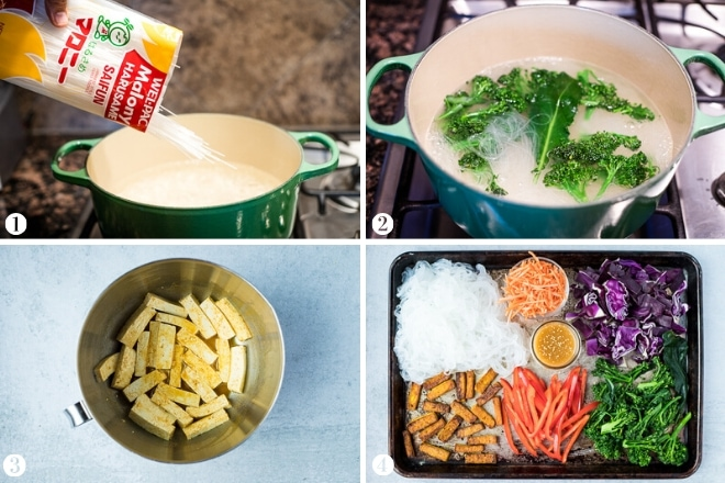 step-by-step photos for how to make glass noodle bowls