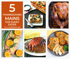 collage of thanksgiving main dishes