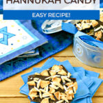 close up of hanukkah candy on blue paper nakins
