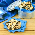 piece of homemade hanukkah candy on a pile of blue napkins