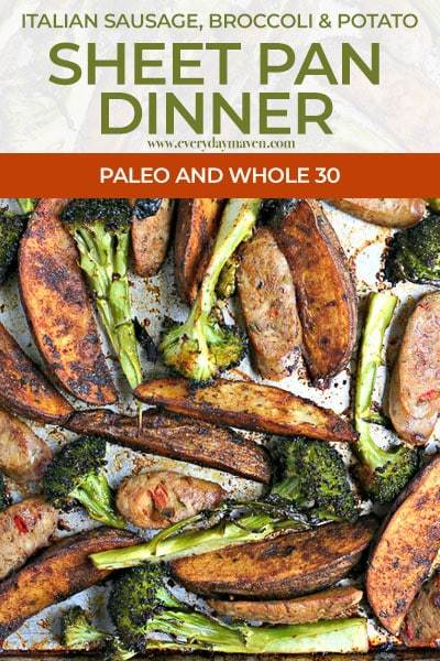 close up of sausage, paprika potatoes, and roasted broccoli on a sheet pan