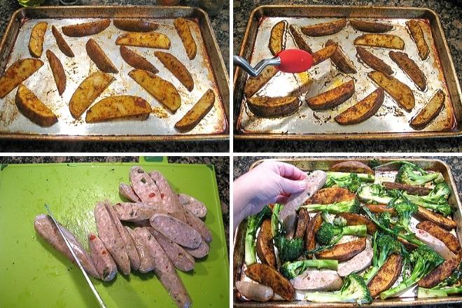 step by step photos to prepare Italian sausage sheet pan dinner recipe