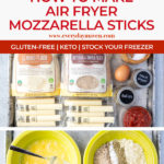 step by step pictures showing how to make air fryer mozzarella sticks