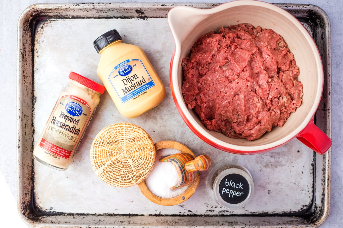 ingredients to make horseradish burgers