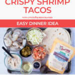 long pinterest image with collage of steps and text to make shrimp tacos