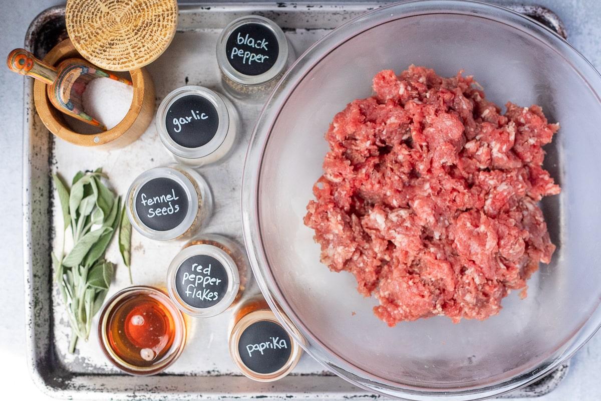 ingredients to make maple breakfast sausage