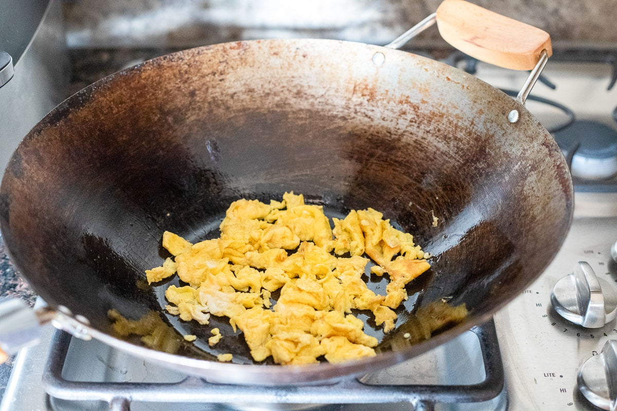 scrambled egg in a wok