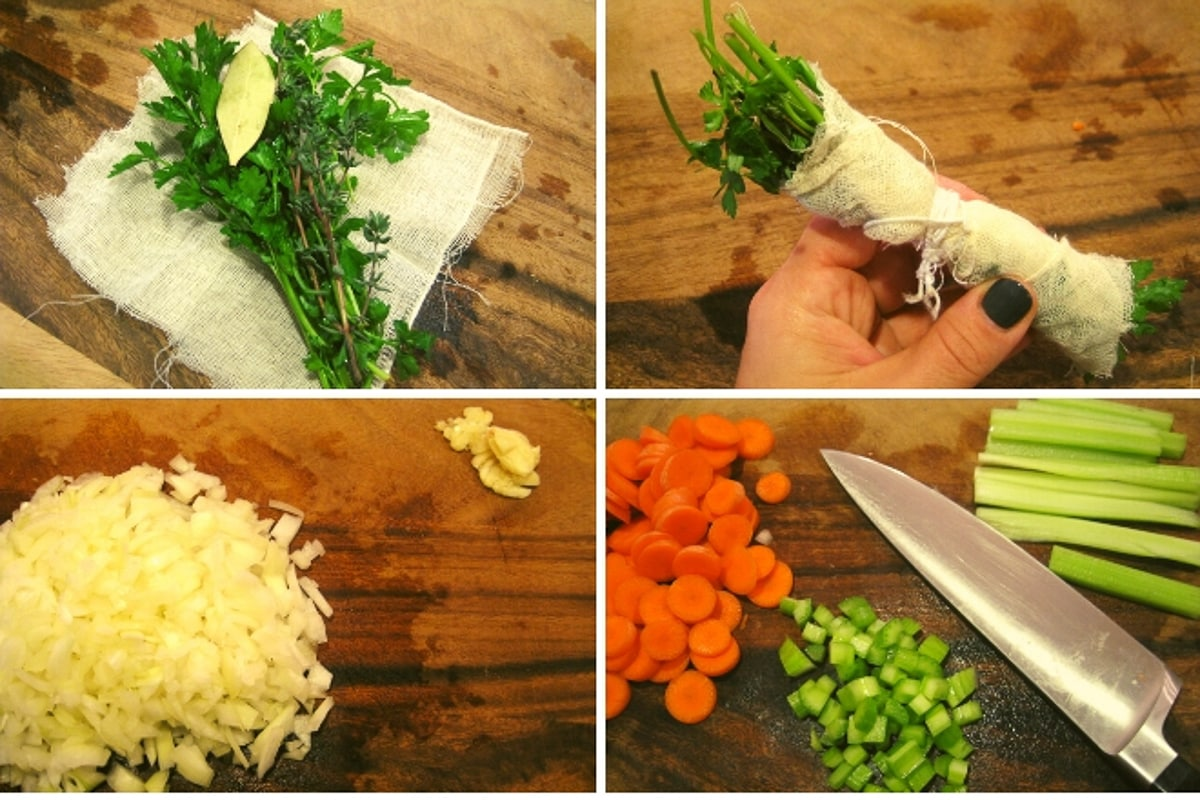 collage of step by step images to make turkey barley soup
