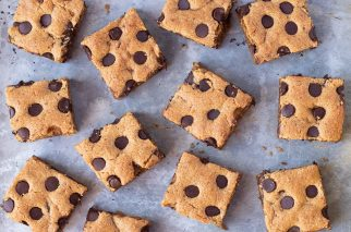 close up of peanut butter blondies with chocolate chips
