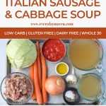 collage of images to make cabbage sausage soup with text for pinterest