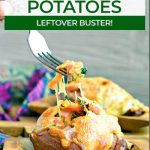 stuffed sweet potatoes with melted cheese and text for pinterest