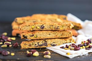 gluten free biscotti with dried cranberries and pistachios on a table