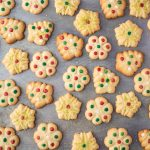 decorated gluten free butter cookies on a cookie sheet
