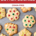 close up of decorated butter cookies with text for pinterest