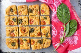squares of grain free focaccia with fresh basil