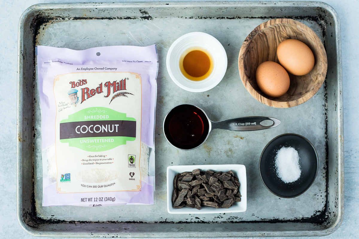 baking sheet with ingredients to make coconut macaroons