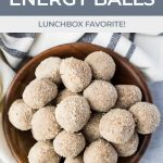 close up of energy balls in a small wood dish